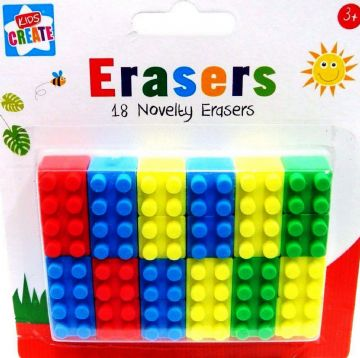 18 Novelty Pencil Erasers Shape of Lego Brick Rubbers